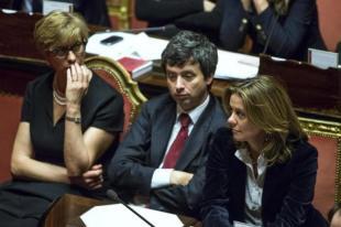 PINOTTI ANDREA ORLANDO BEATRICE LORENZIN IN SENATO FOTO LAPRESSE